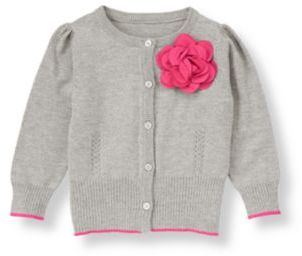 Janie and Jack Rosette Pointelle Cardigan