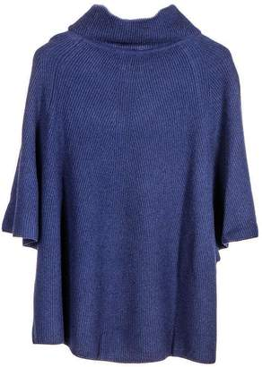 Black Navy Roll Neck Cashmere Sleeved Poncho