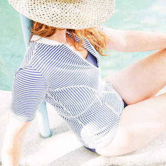 The Bathers Company NEW Womens short sleeved swimming top (rashie) in Navy Stripe by The Bathers Com