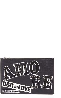 Dolce & Gabbana Amore Black Leather Cardholder With Patch