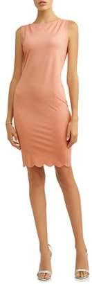 Tiana B Women's Sheath Dress with Scalloped Hem