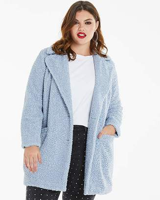 Fashion World Pale Blue Teddy Fur Coat