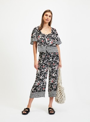 Miss Selfridge Black Floral Print Crop Trousers