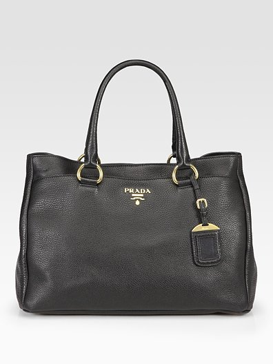 Prada Pebbled Leather East/West Tote