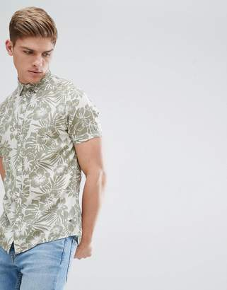 Solid Short Sleeve Shirt In Hibiscus Print