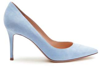 Gianvito Rossi Gianvito 85 Point Toe Suede Pumps - Womens - Light Blue