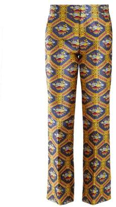 Gucci Geometric Floral Jacquard Flared Trousers - Womens - Yellow Print