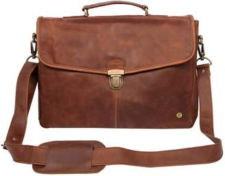 "Mahi Leather Leather Yale Clip-Up Satchel Briefcase Bag With 15"" Laptop Capacity In Vintage Brown"