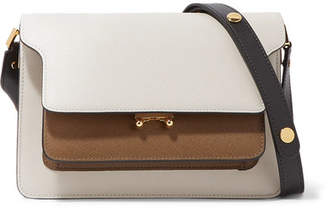 Marni Trunk Medium Color-block Textured-leather Shoulder Bag - White