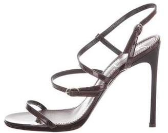 Saint Laurent Metallic Strappy Sandals
