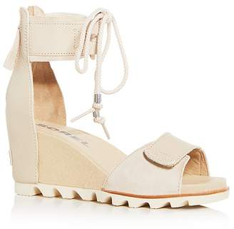 Sorel Women's Joanie Leather & Suede Ankle Tie Wedge Sandals