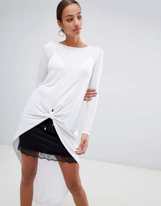 Missguided knot front tunic top