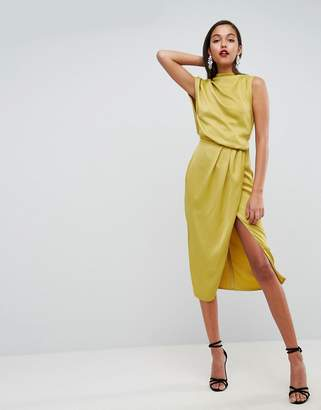 Asos Design Drape Front Satin Midi Dress