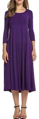 Herose Girls Bright Color Comfy Cotton Blended Lightweight Breathable Dress L