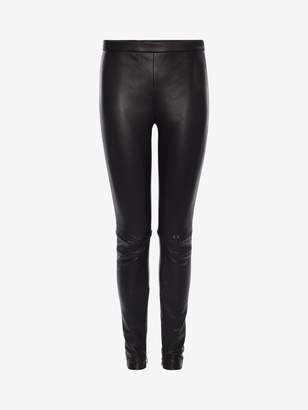 Alexander McQueen Whip-Stitched Leather Leggings
