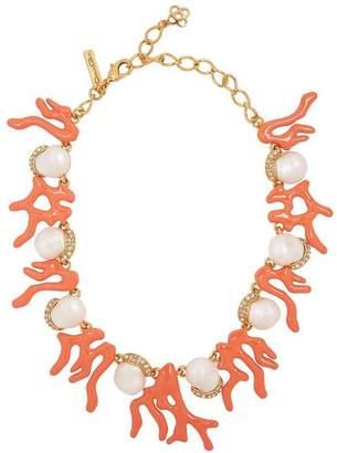Oscar de la Renta Gold-Tone Crystal Coral Necklace