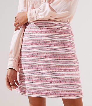 LOFT Stripe Textured Pocket Skirt