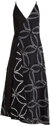 Roland Mouret Hooper Geometric Floral Jacquard Dress - Womens - Navy Multi