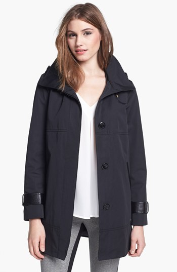 Ellen Tracy Faux Leather Trim Raincoat (Regular & Petite)