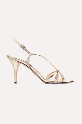 5d77bf71ab6973 Prada 85 Metallic Leather Sandals - Gold