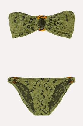 Hunza G Gloria Embellished Seersucker Bandeau Bikini - Army green