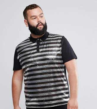Asos DESIGN PLUS Polo Shirt In Sequin Stripe