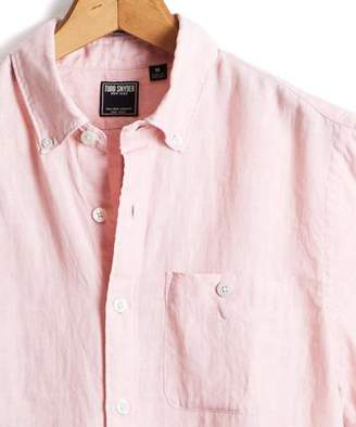 Todd Snyder Short Sleeve Linen Button Down Shirt in Pink