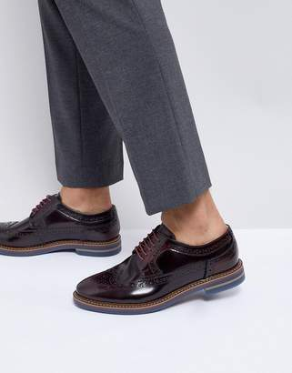 Base London Turner Leather Brogue Shoes in Red