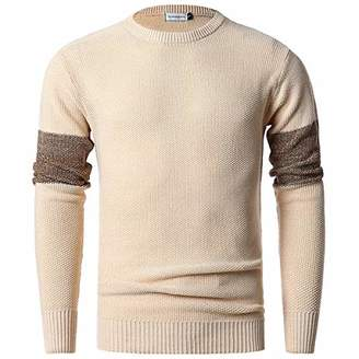 Chain Stitch Men's Stylish Braided Knitted Pullover Crew Neck Sweater