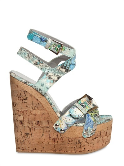 Diamond Stuart Weitzman - 150mm Snake Printed Leather Wedges