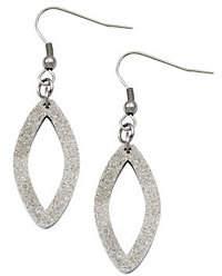 Steel by Design Stainless Steel Laser-Cut Oval Dangle Earrings