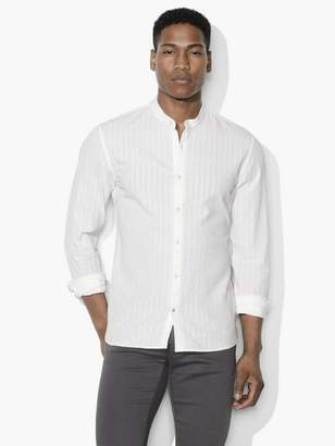 John Varvatos Textured Band-Collar Shirt