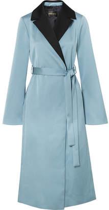 Stine Goya Leanne Two-tone Hammered-satin Coat - Blue