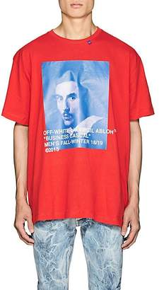 Off-White Men's Bernini-Print Cotton Oversized T-Shirt - Red
