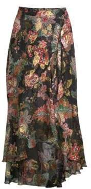 The Kooples Floral Frill Silk Midi Skirt