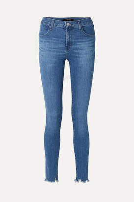 J Brand Maria Frayed High-rise Skinny Jeans - Mid denim