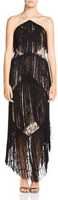 Haute Hippie Elixir of Life Tiered-Fringe Lace Dress