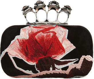 Alexander McQueen Suede Floral Four Ring Floral Clutch