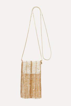 Rosantica Dakota Fringed Gold-tone Faux Pearl Shoulder Bag - White