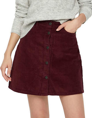 Noisy May Sunny Corduroy Button Front A-Line Skirt