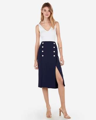 Express High Waisted Slit Front Button Midi Skirt
