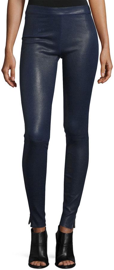 Elizabeth And JamesElizabeth and James Xavier Zip-Trim Leather Leggings, Royal