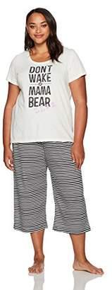 Hue Women's Plus Size Solid on Stripes Knit Short Sleeve Pajama Set