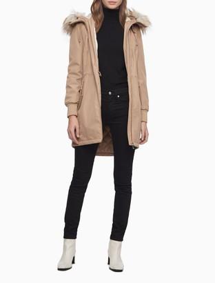 Calvin Klein Soft Shell Faux Fur Hooded Anorak Jacket