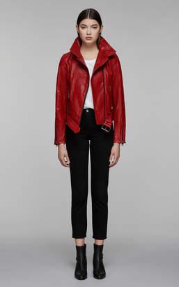 Mackage EMILY moto leather jacket with asymmetrical zip