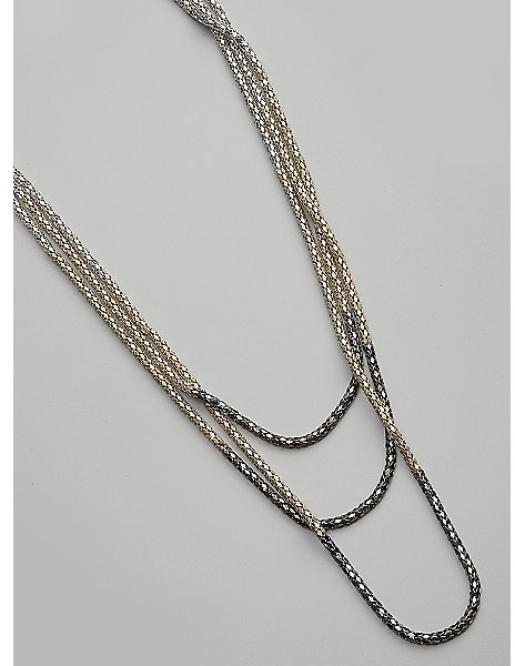 Tri-tone Ombre Metal Chain Necklace