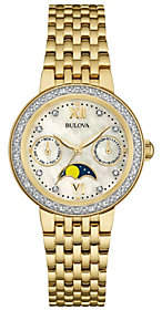 Bulova Goldtone Diamond-Accent Moon Phase Women's Watch $550 thestylecure.com