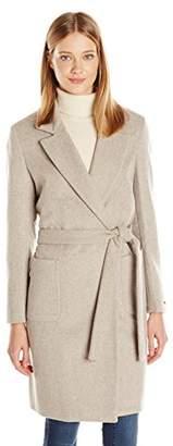 Maison Scotch Scotch & Soda Women's Wrap Over Coat in Soft Wool Blend Quality