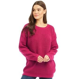 Brave Soul Womens Twister Chunky Rib Knit Jumper Magenta Pink