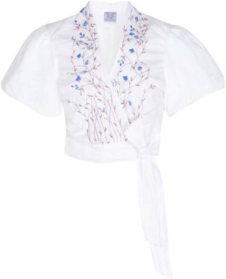 Thierry Colson Tamara Cropped Embroidered Linen Wrap Top